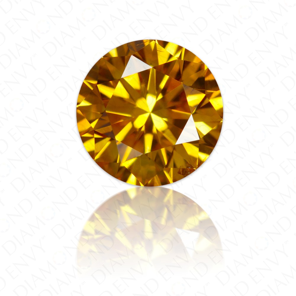 0.46 Carat Round Brilliant Fancy Vivid Orange Yellow Diamond
