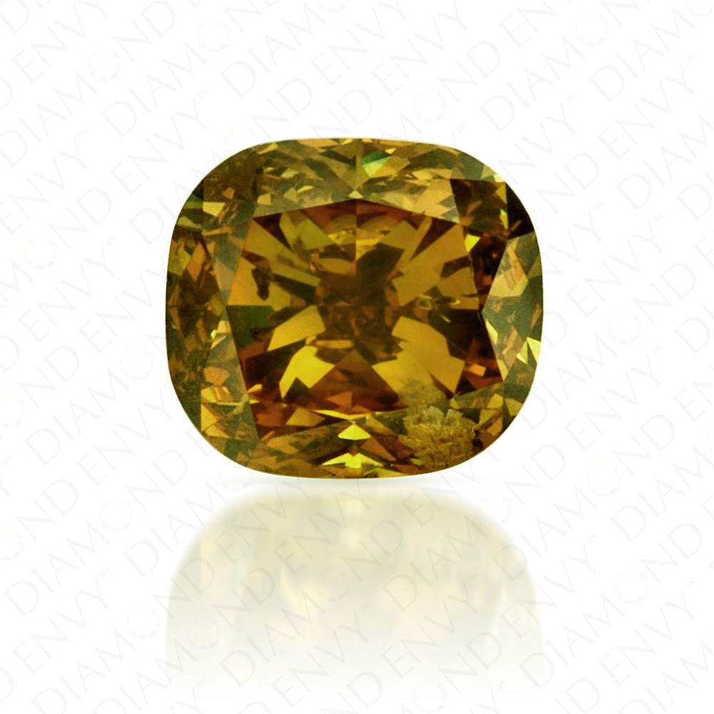 0.70 Carat Cushion Cut Natural Fancy Dark Brownish Yellow Diamond