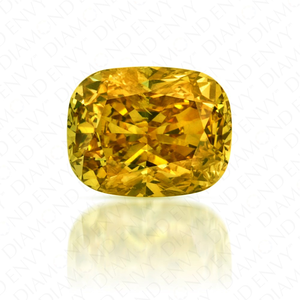 clarity gia deep brownish diamond yellow shape cushion carat certified fancy