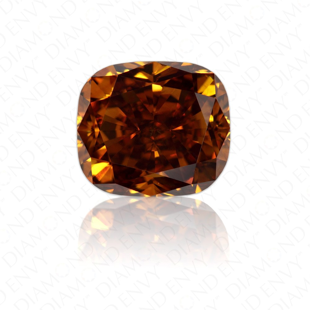 2.07 Carat Cushion Natural Fancy Deep Brown-Orange Diamond