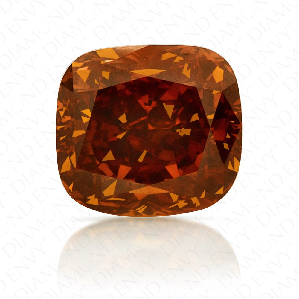 1.25 Carat Cushion Cut Natural Fancy Deep Brownish Orange Diamond