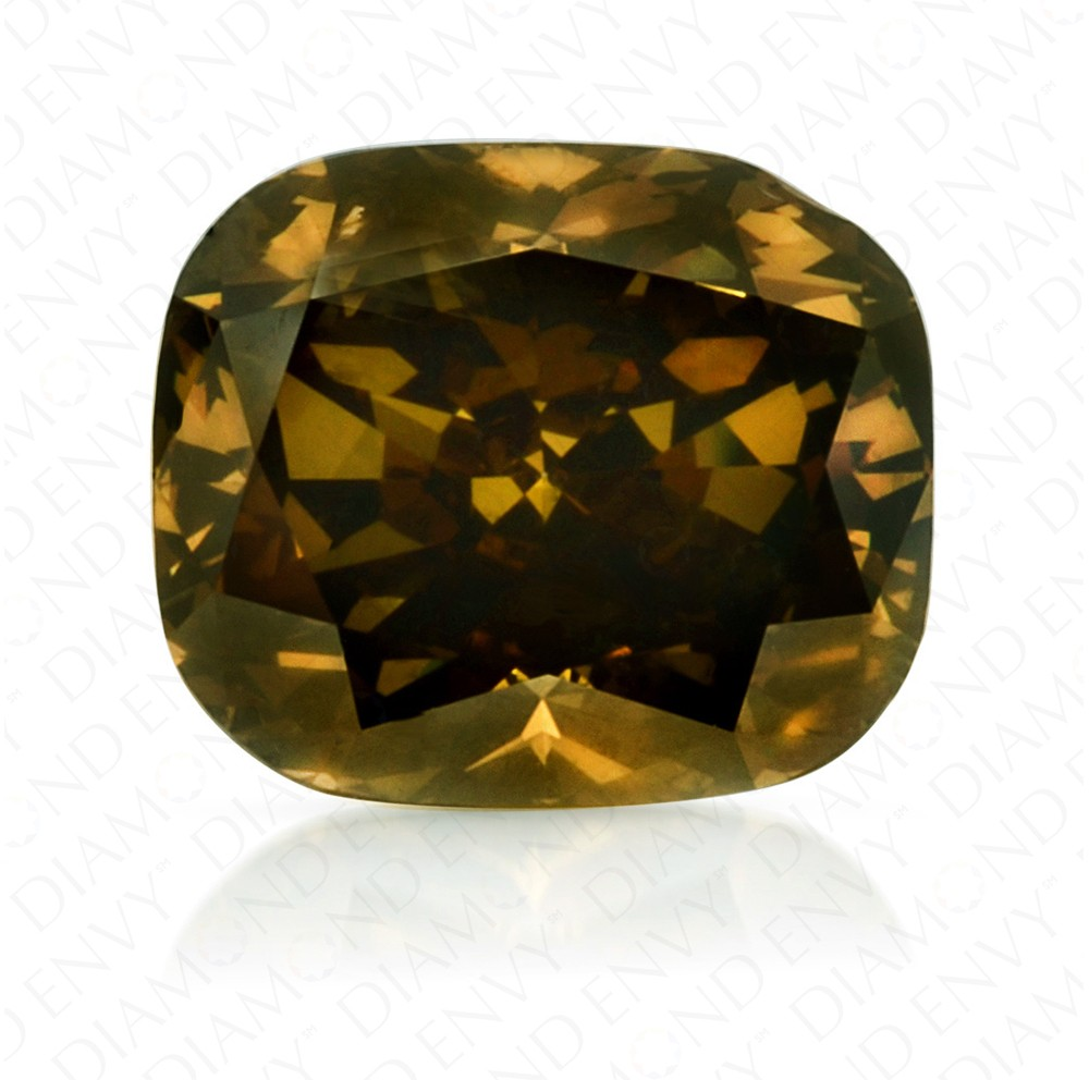 1.01 Carat Cushion Cut natural Fancy Dark Brownish Greenish Yellow Diamond