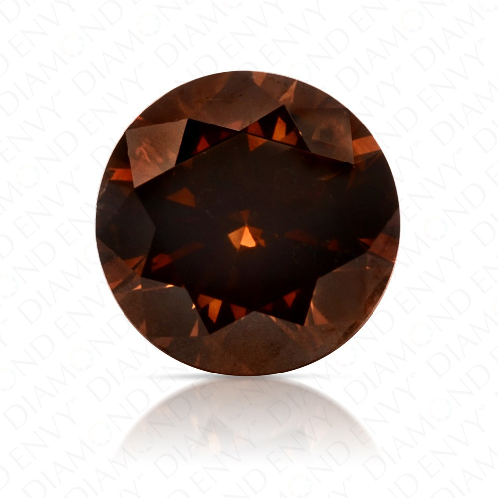 0.76 Carat Round Brilliant Natural Fancy Dark Orangy Brown Diamond