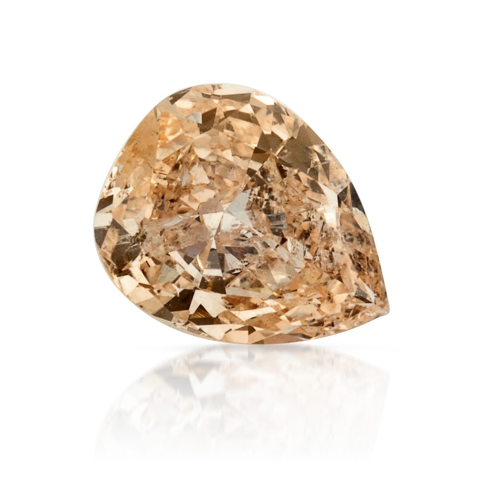 1.00 Carat Pear Shape Natural Light Orangy Yellow Diamond