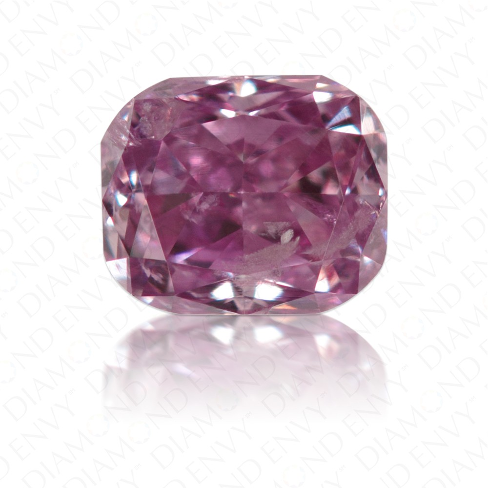 0.22 Carat Cushion Fancy Intense Pink Purple Diamond