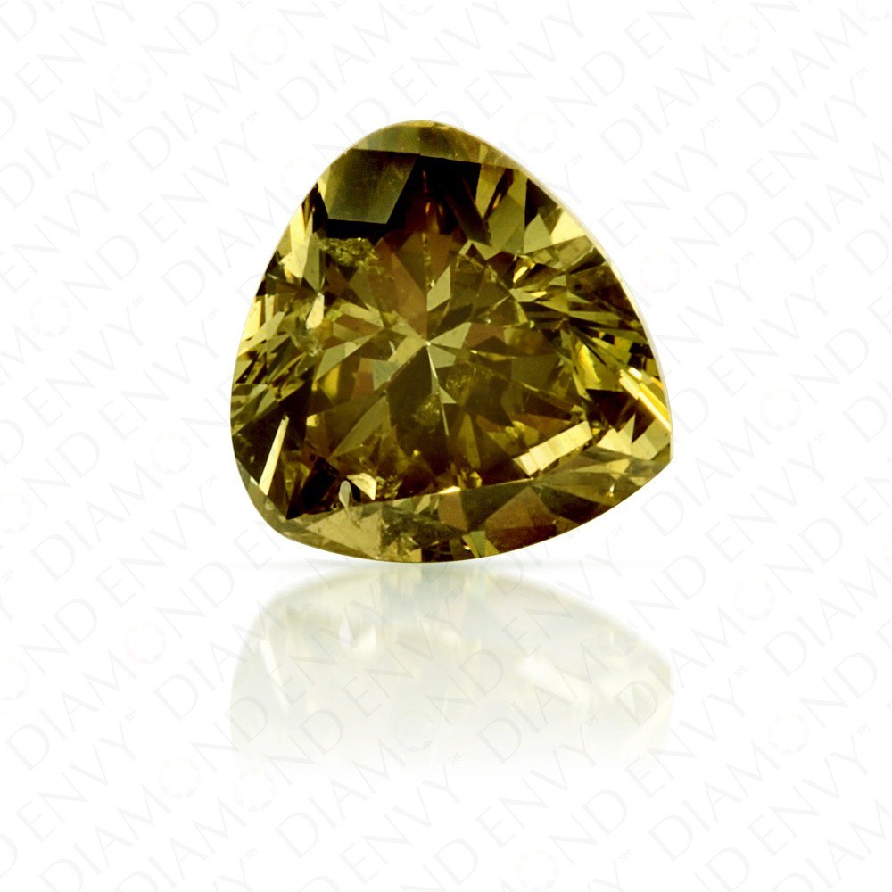 0.40 Carat Heart Shape Fancy Deep Brownish Greenish Yellow Diamond