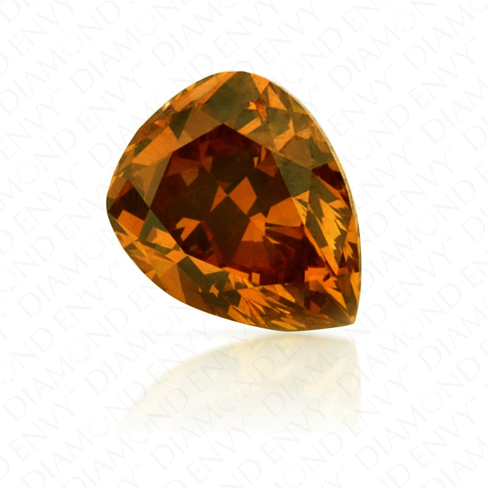 0.60 Carat Pear Shape Fancy Deep Brownish Yellowish Orange Diamond