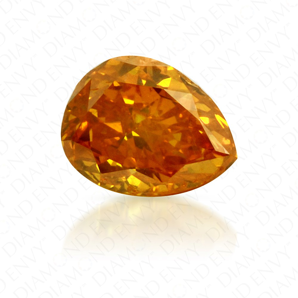 0.33 Carat Pear Shape Fancy Vivid Yellow Orange Diamond