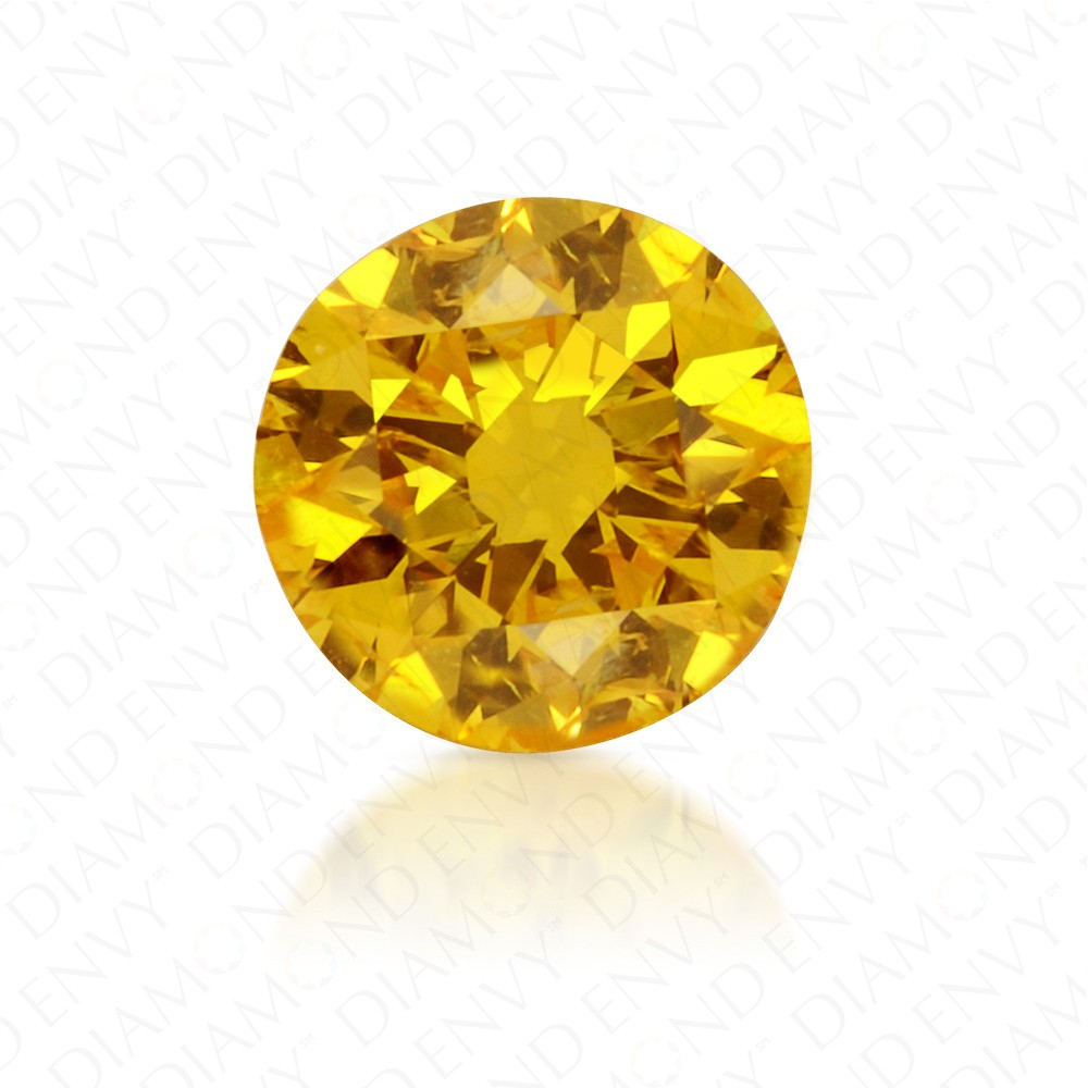 0.52 Carat Round Brilliant Fancy Vivid Yellow Diamond