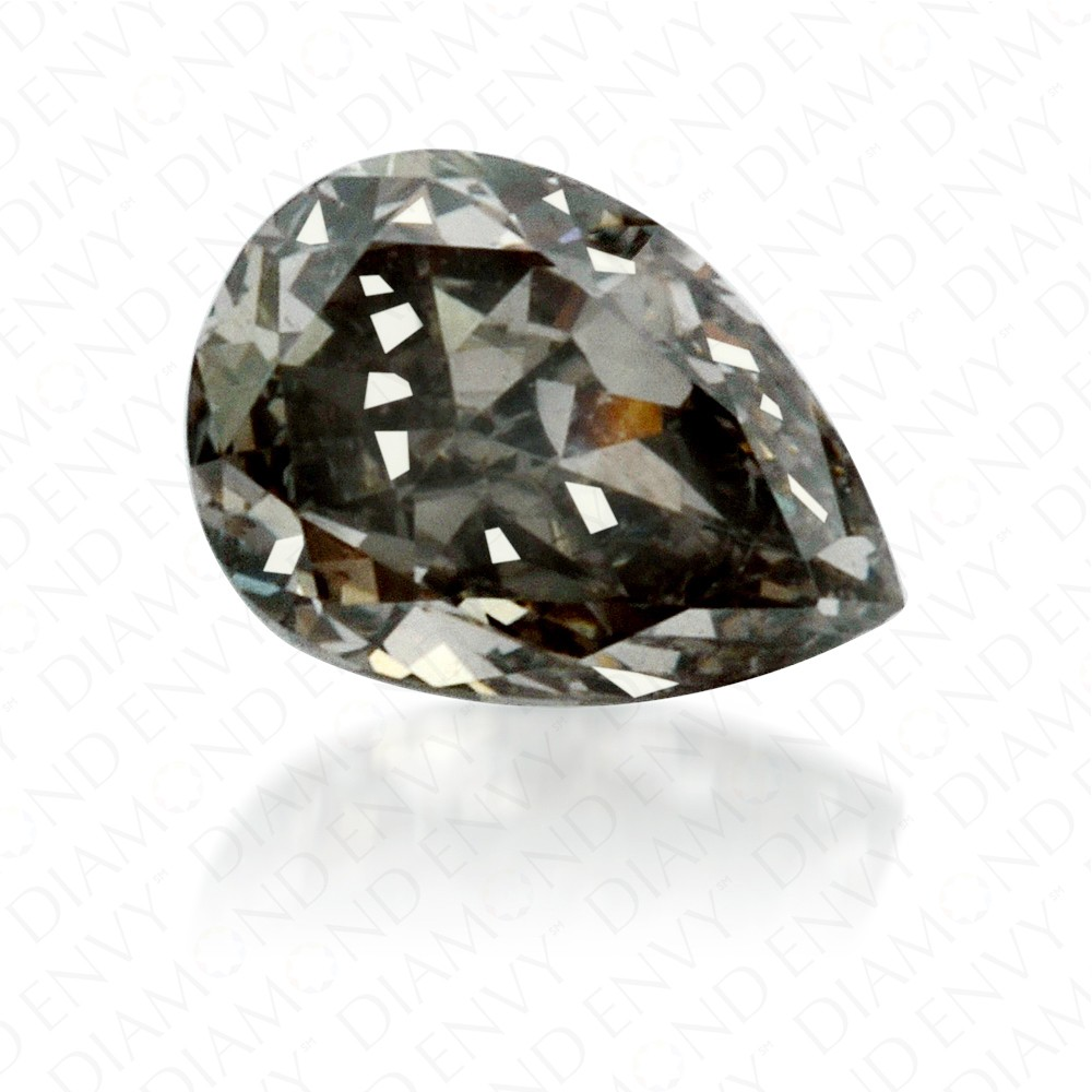 0.23 Carat Pear Shape Fancy Dark Green Grey Diamond