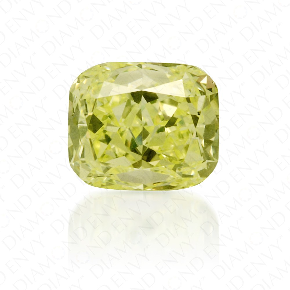 0.52 Carat Cushion Cut Fancy Green Yellow Diamond