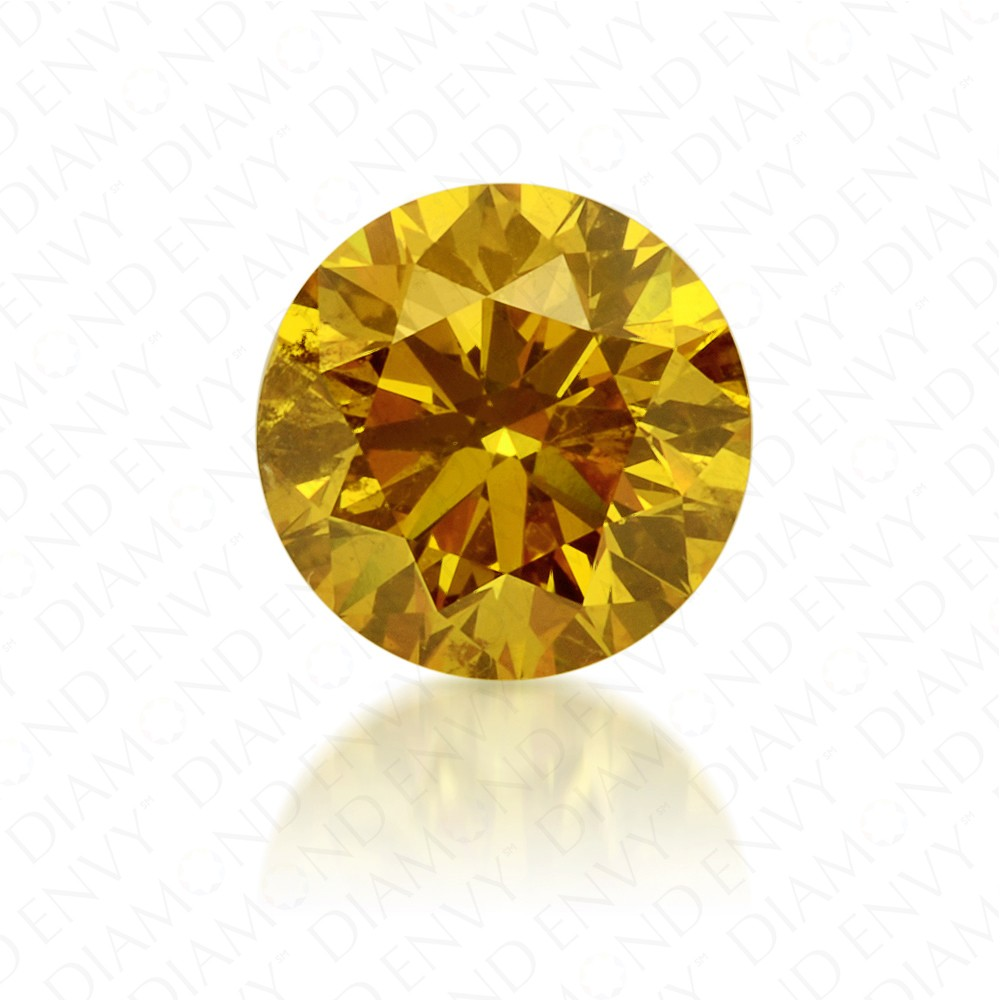 0.68 Carat Round Brilliant Natural Fancy Vivid Orangy Yellow Diamond