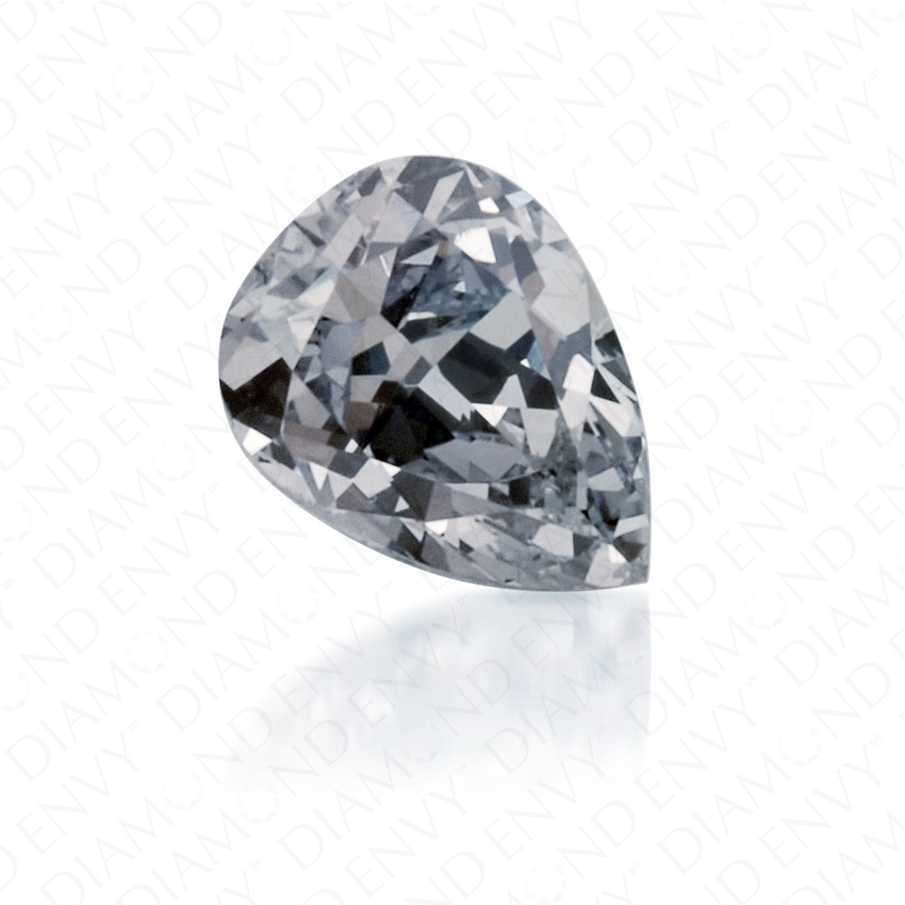 0.22 Carat Pear Shape Fancy Grey Blue Diamond
