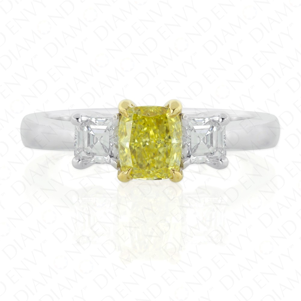 1.16 Carat Fancy Intense Yellow Diamond Ring in 18K Two-Tone Gold