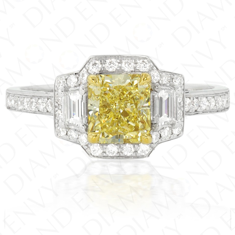 1.58 Carat Fancy Yellow Diamond Ring in 18K Two-Tone Gold