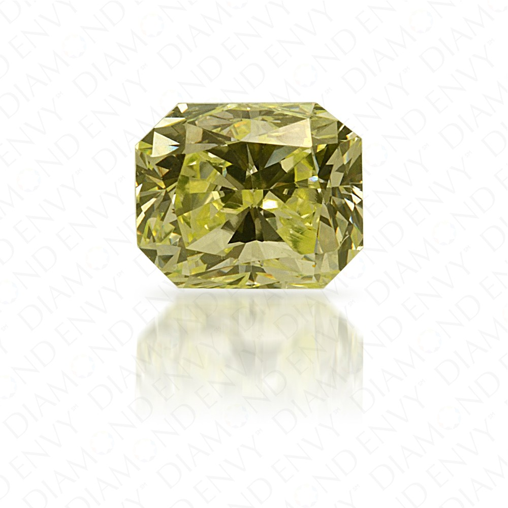 0.50 Carat Radiant Cut Natural Fancy Light Green-Yellow Diamond