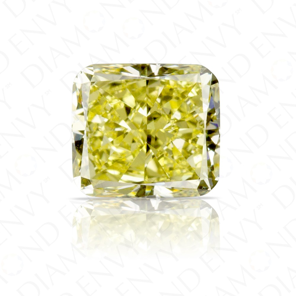 1.05 Carat Cushion Cut Natural Fancy Yellow Diamond