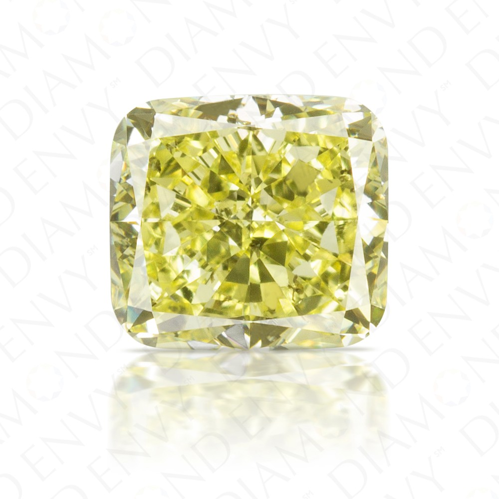 1.55 Carat Cushion Cut Natural Fancy Yellow Diamond
