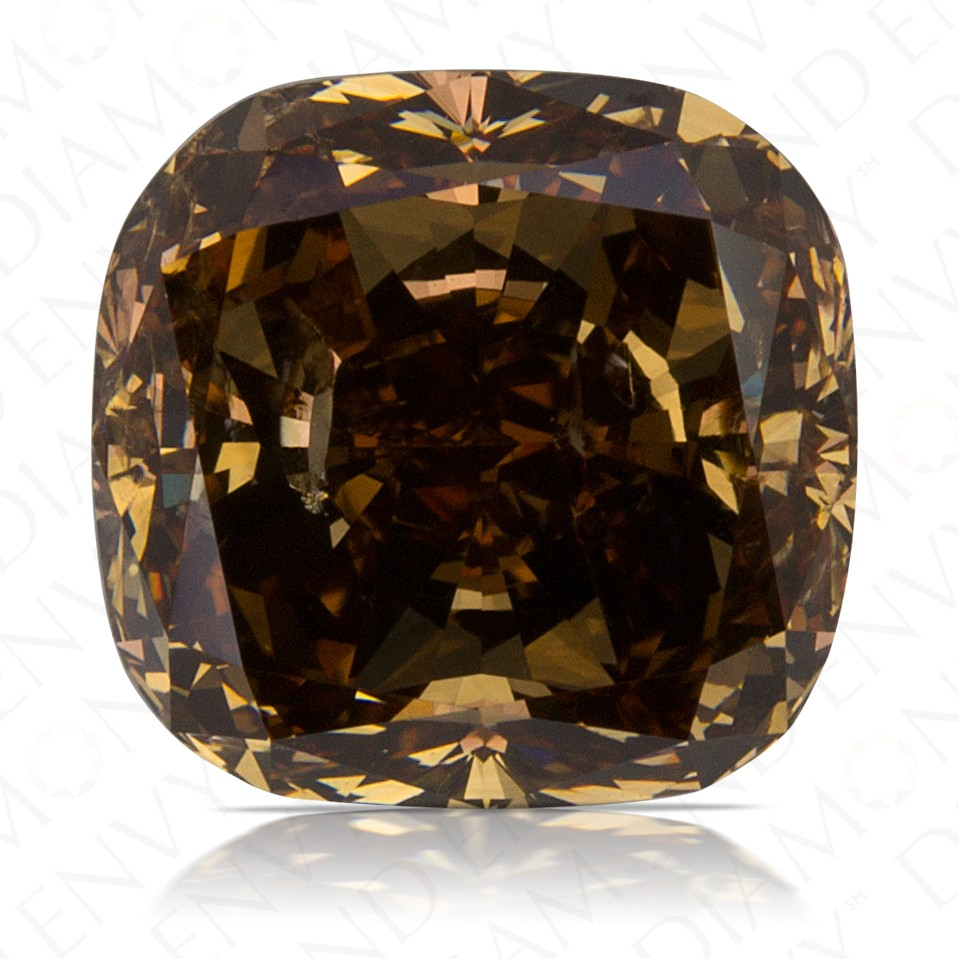 4.06 Carat Cushion Cut Natural Fancy Dark Orangy Brown Diamond
