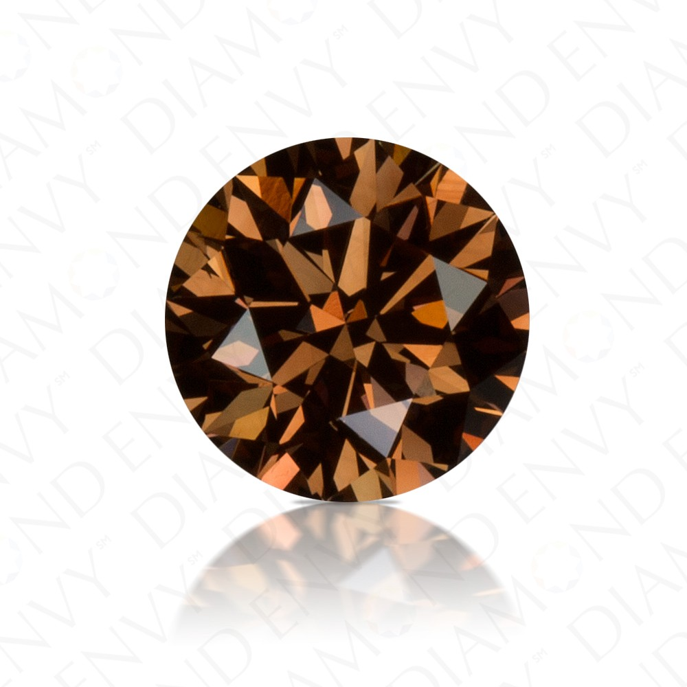 1.02 Carat Round Brilliant Natural Fancy Dark Orangy Brown Diamond