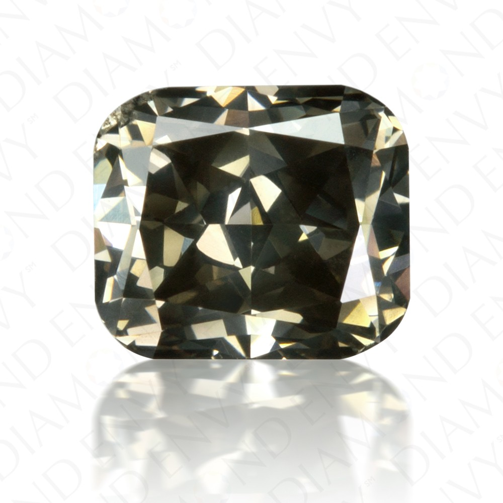 1.01 Carat Cushion Cut Fancy Dark Greenish Grey Diamond