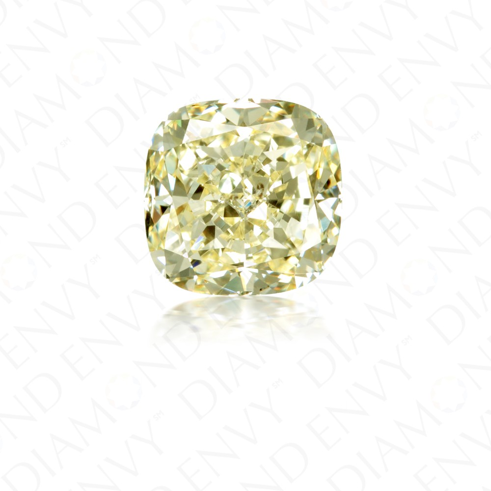 2.06 Carat Cushion Cut Natural Fancy Light Yellow Diamond