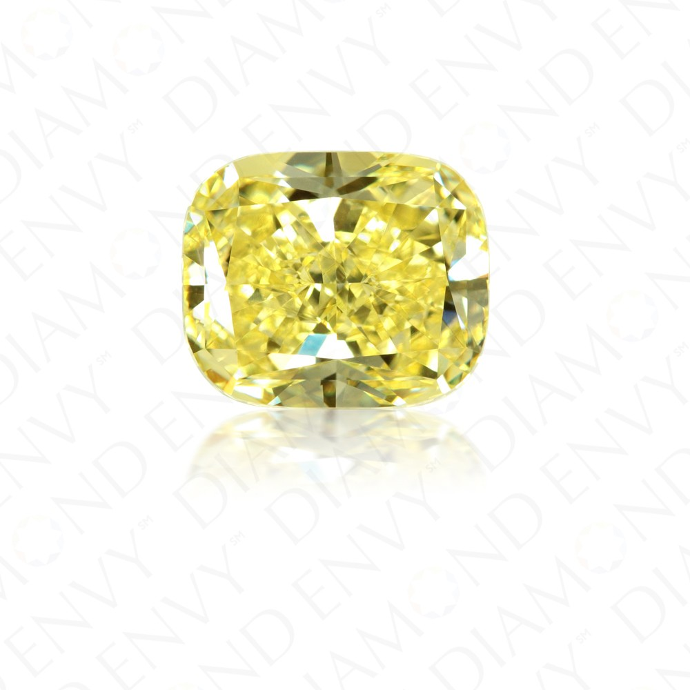 3.07 Carat Cushion Cut Natural Fancy Intense Yellow Diamond