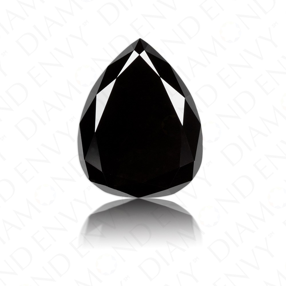 1.29 Carat Pear Shape Natural Fancy Black Diamond