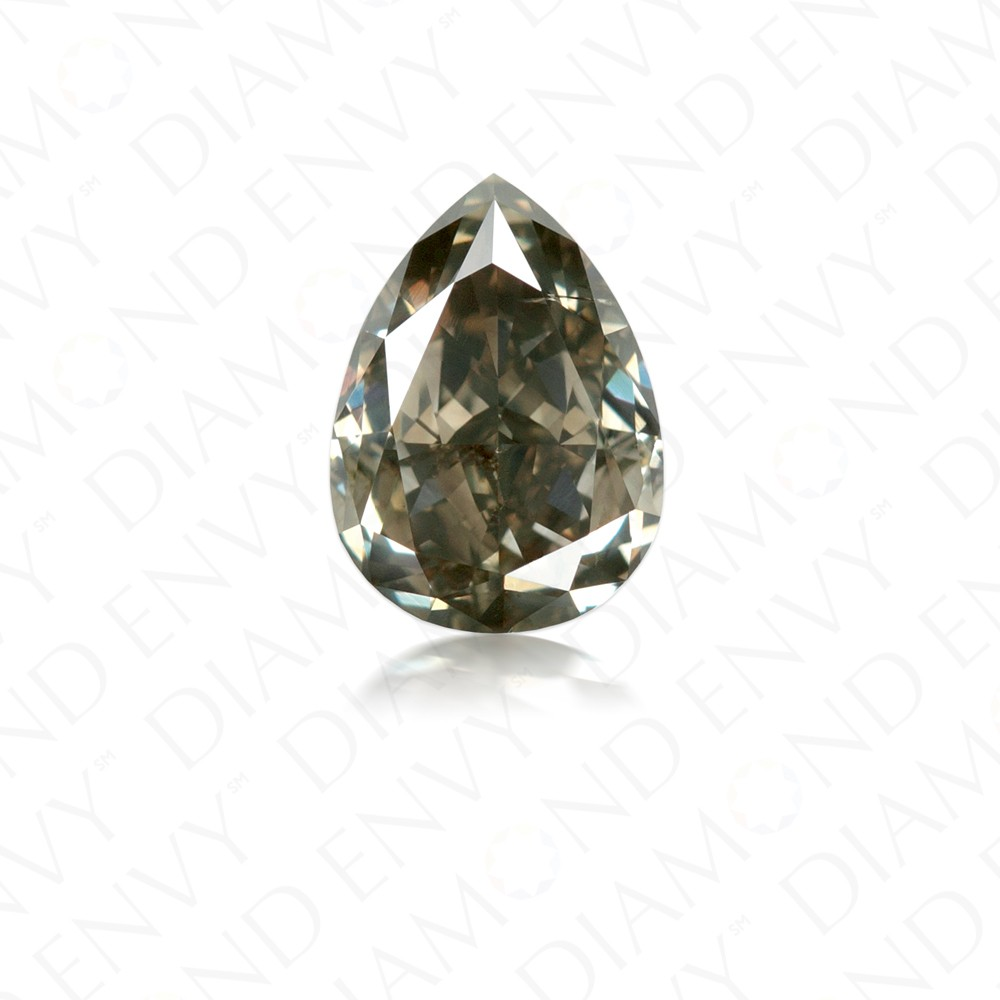 1.14 Carat Pear Shape Natural Fancy Dark Greenish Grey Diamond