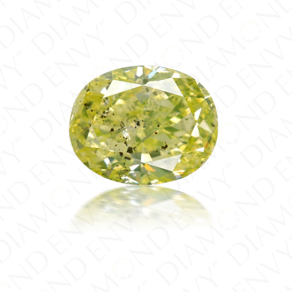 1.40 Carat Oval Natural Fancy Intense Green-Yellow Diamond