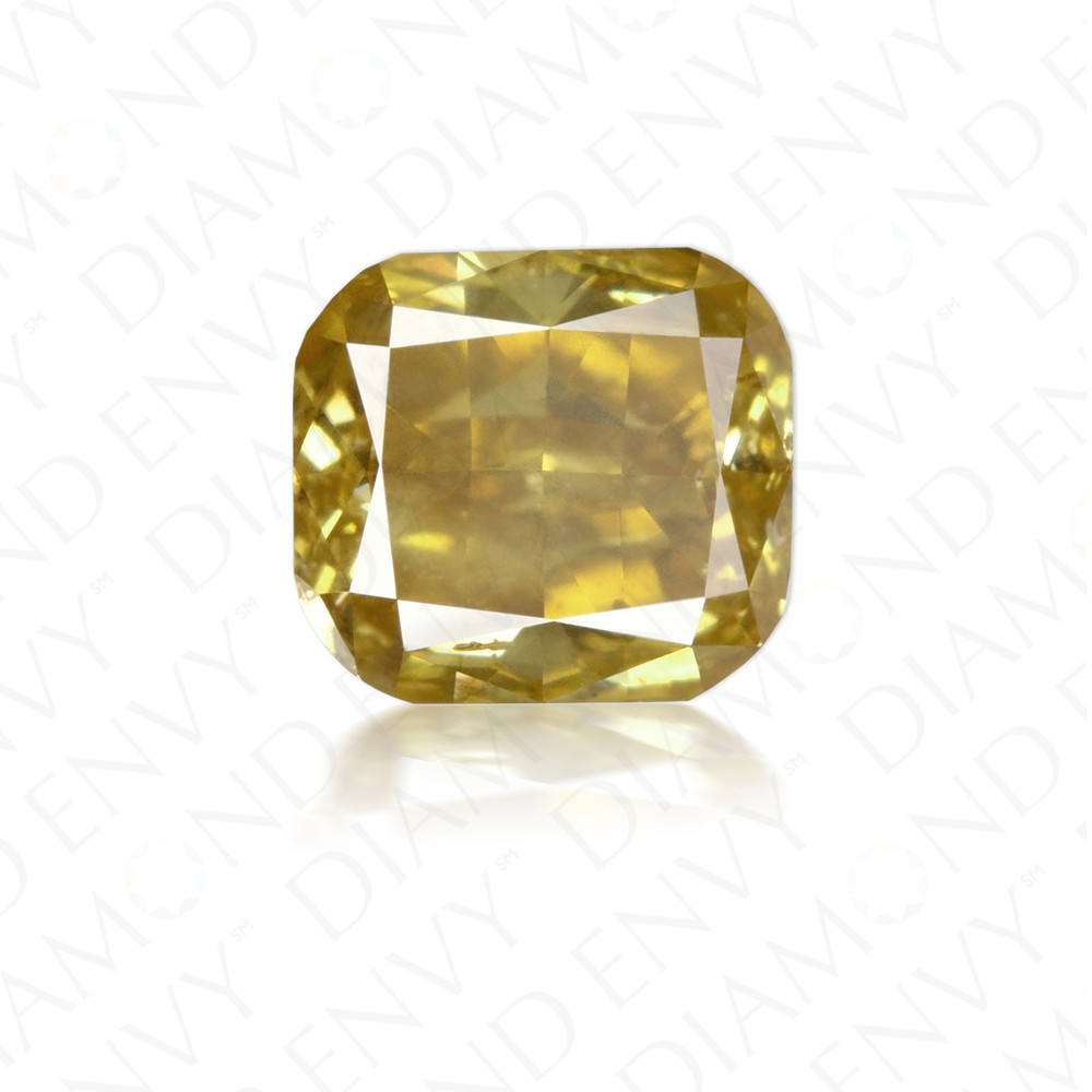 1.32 Carat Cushion Cut Natural Fancy Deep Brownish Yellow Diamond