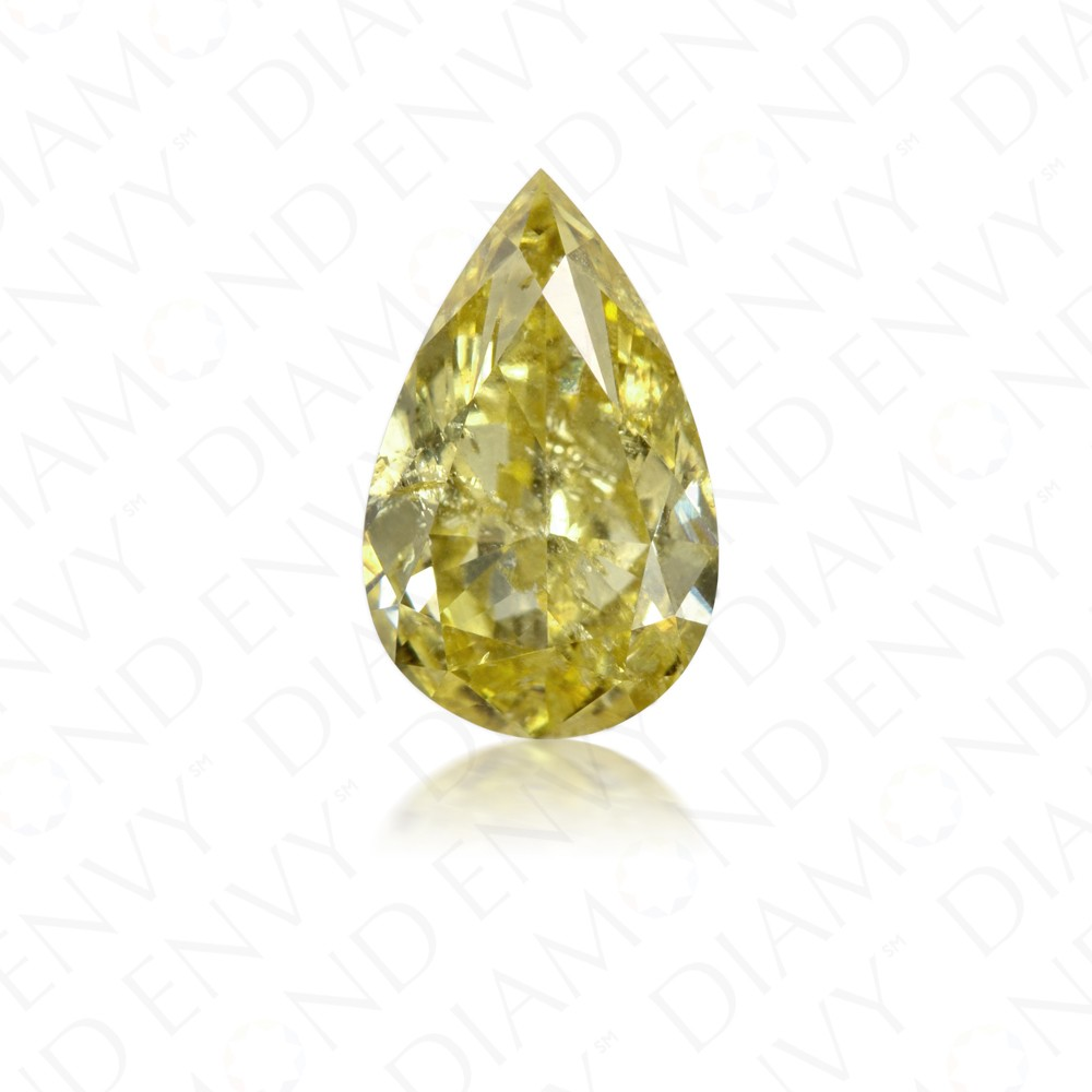 1.50 Carat Pear Shape Natural Fancy Deep Yellow Diamond