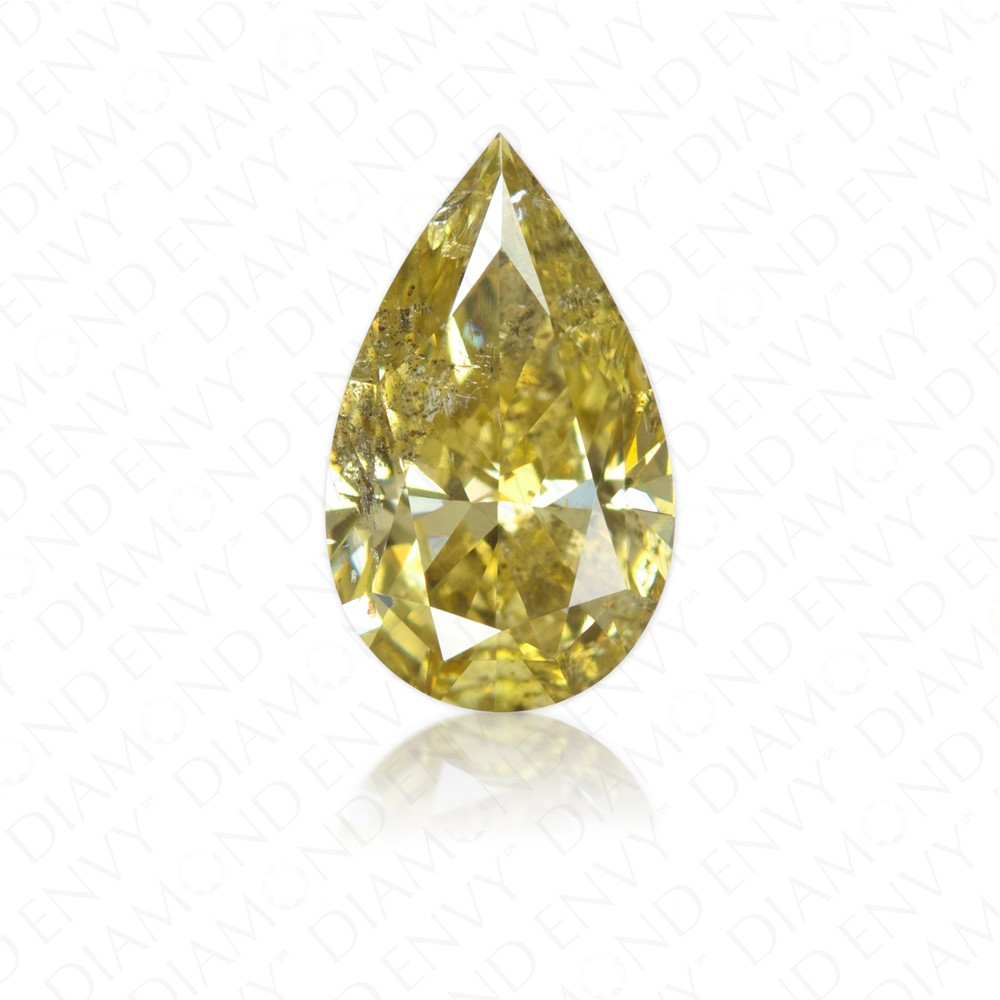 1.26 Carat Pear Shape Natural Fancy Brownish Greenish Yellow Diamond