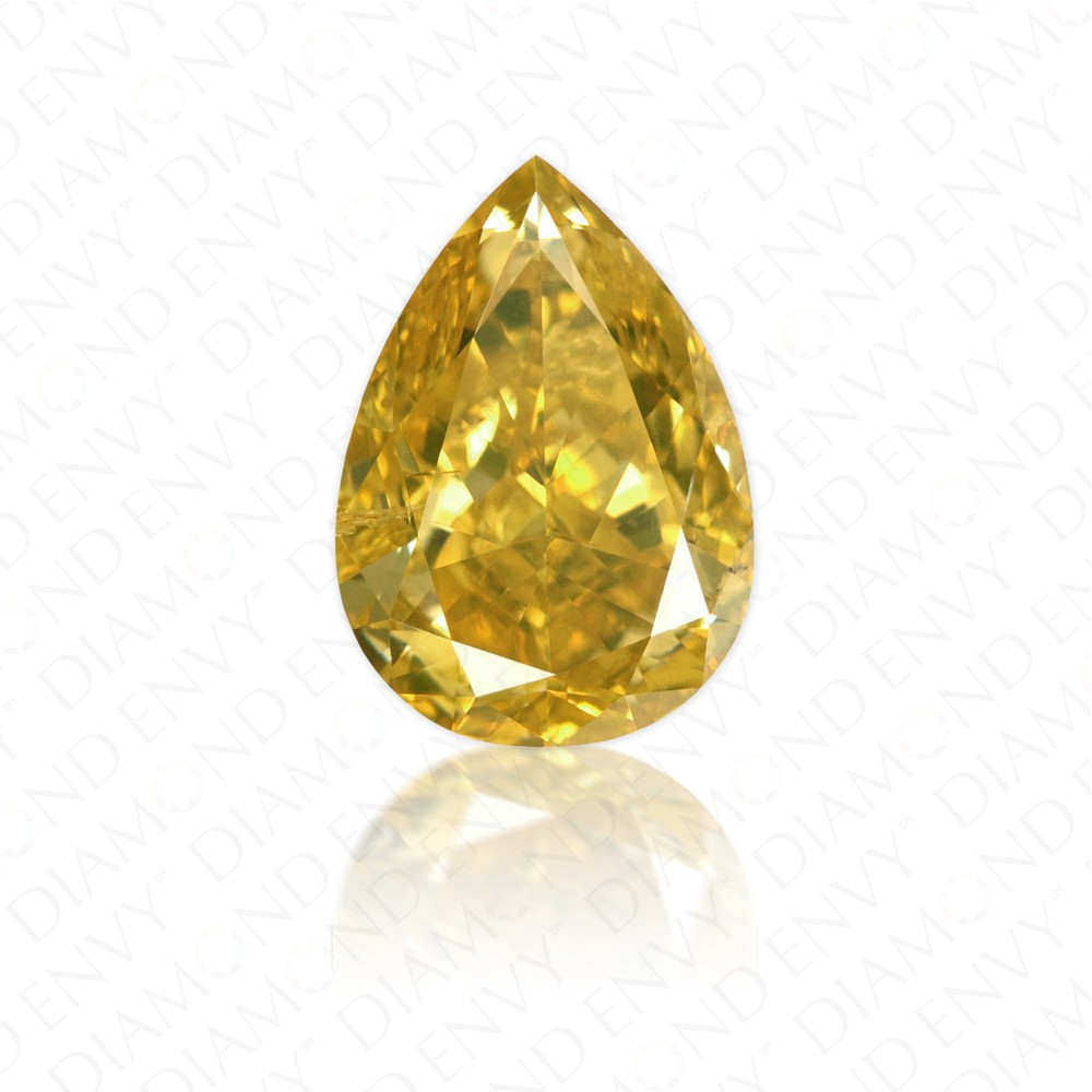 1.11 Carat Pear Shape Fancy Deep Orangy Yellow Diamond