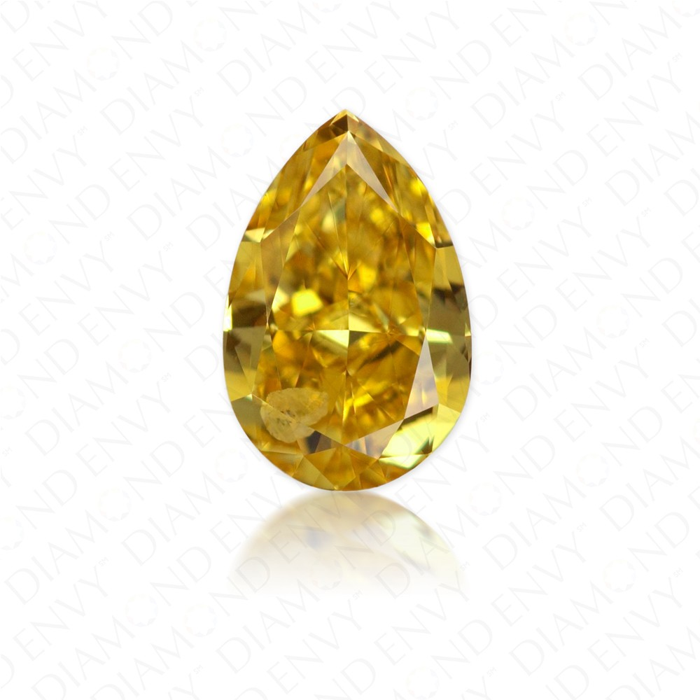 0.41 Carat Pear Shape Fancy Intense Orangy Yellow Diamond