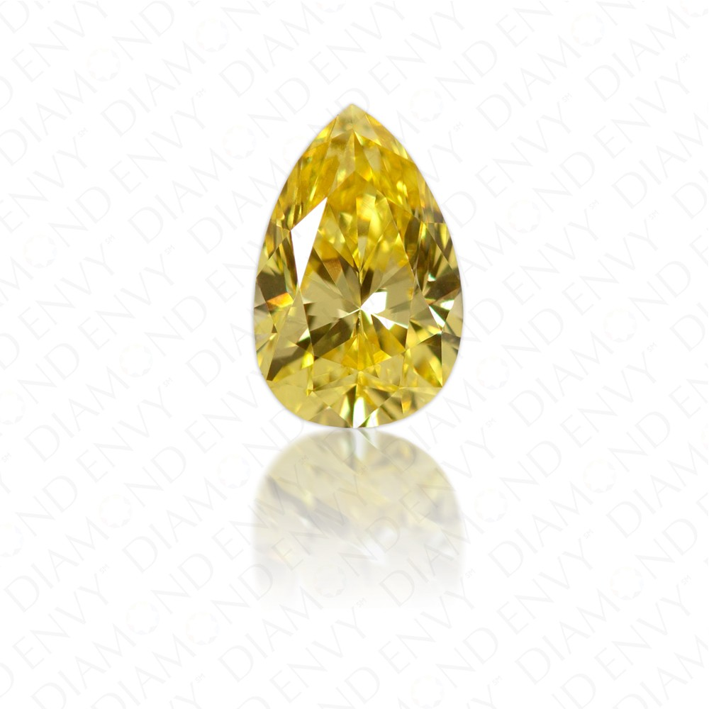 0.40 Carat VVS2 Pear Shape Natural Fancy Vivid Yellow Diamond