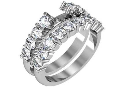 Classic style engagement ring with shared prong set raised diamond band