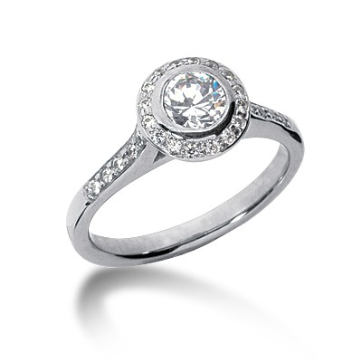 Classic Style Engagement Ring with Pave Set Diamond Band and Halo
