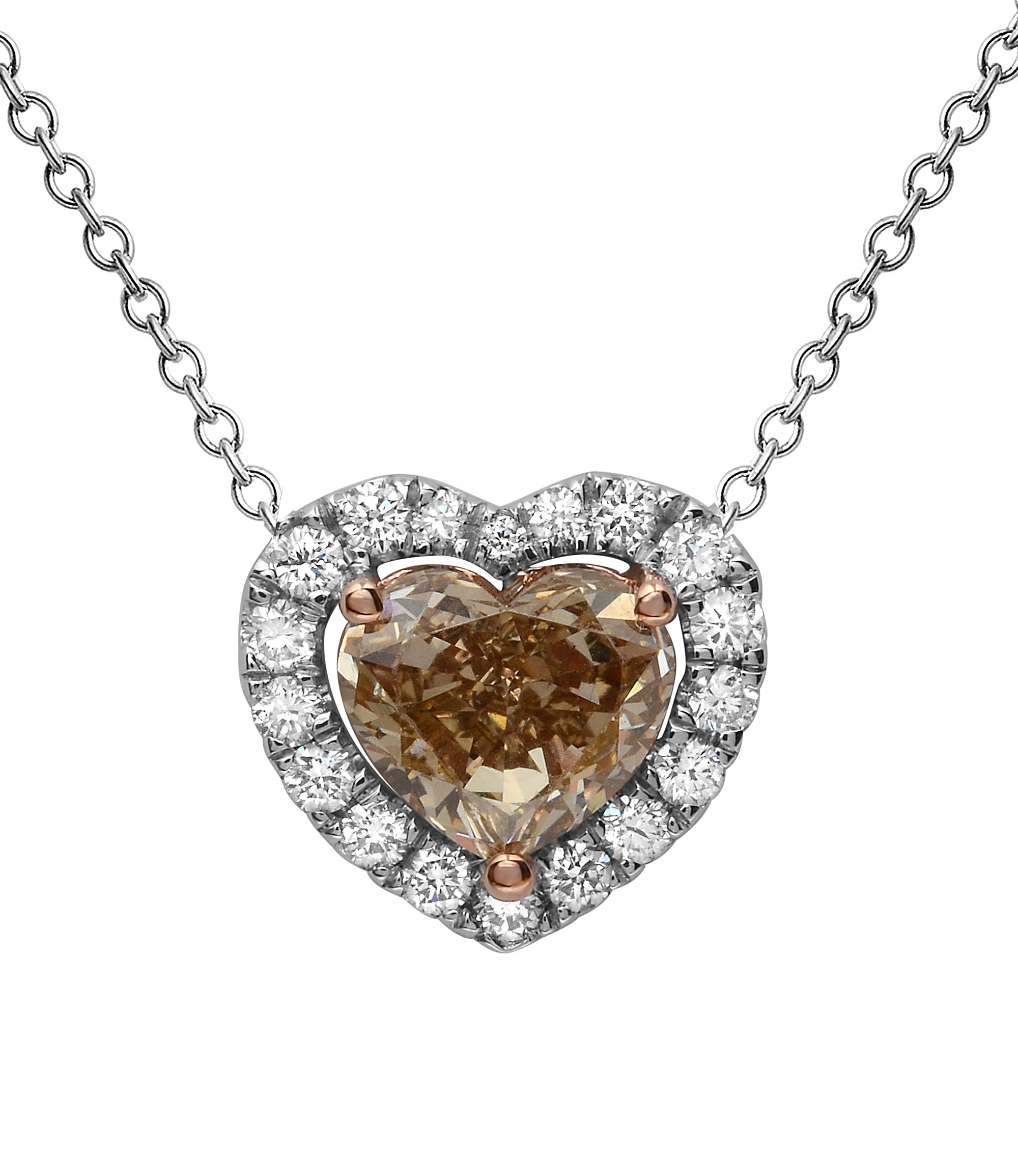 1.64 Carat Fancy Yellow-Brown Diamond Pendant with Chain in 18K White Gold