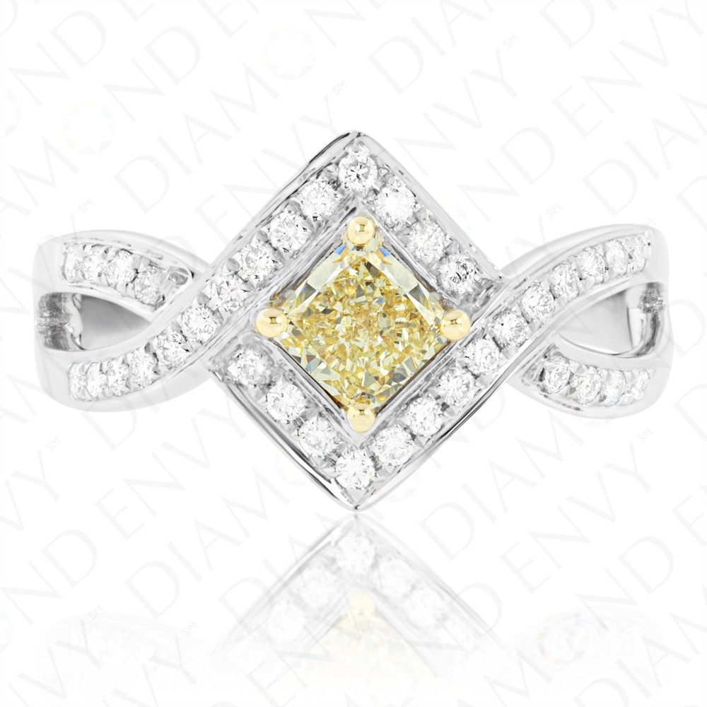 0.80 Carat Fancy Yellow Diamond Ring in 18K Two-Tone Gold