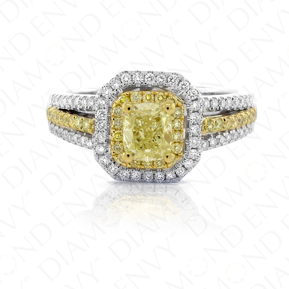 Fancy Yellow Diamond Ring in 18K Two-Tone Gold
