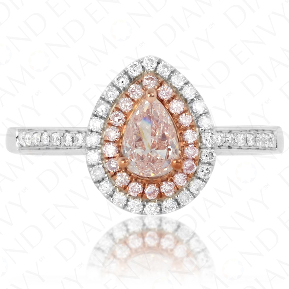0.64 Carat Fancy Light Pinkish Brown Diamond Ring in 18K Two-Tone Gold