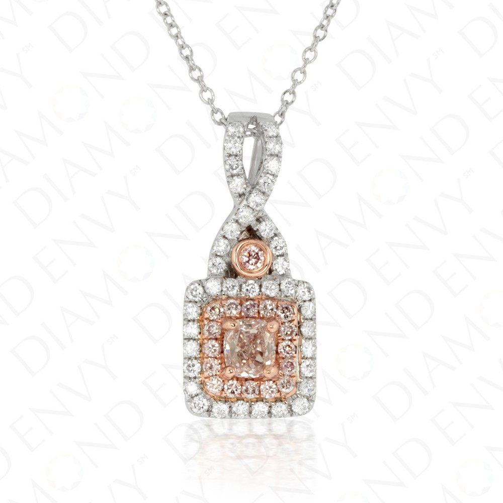 0.62 Carat Fancy Deep Brown Pink Diamond Pendant in 18K Two-Tone Gold