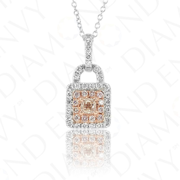 Key Lock Pink Diamond Pendant