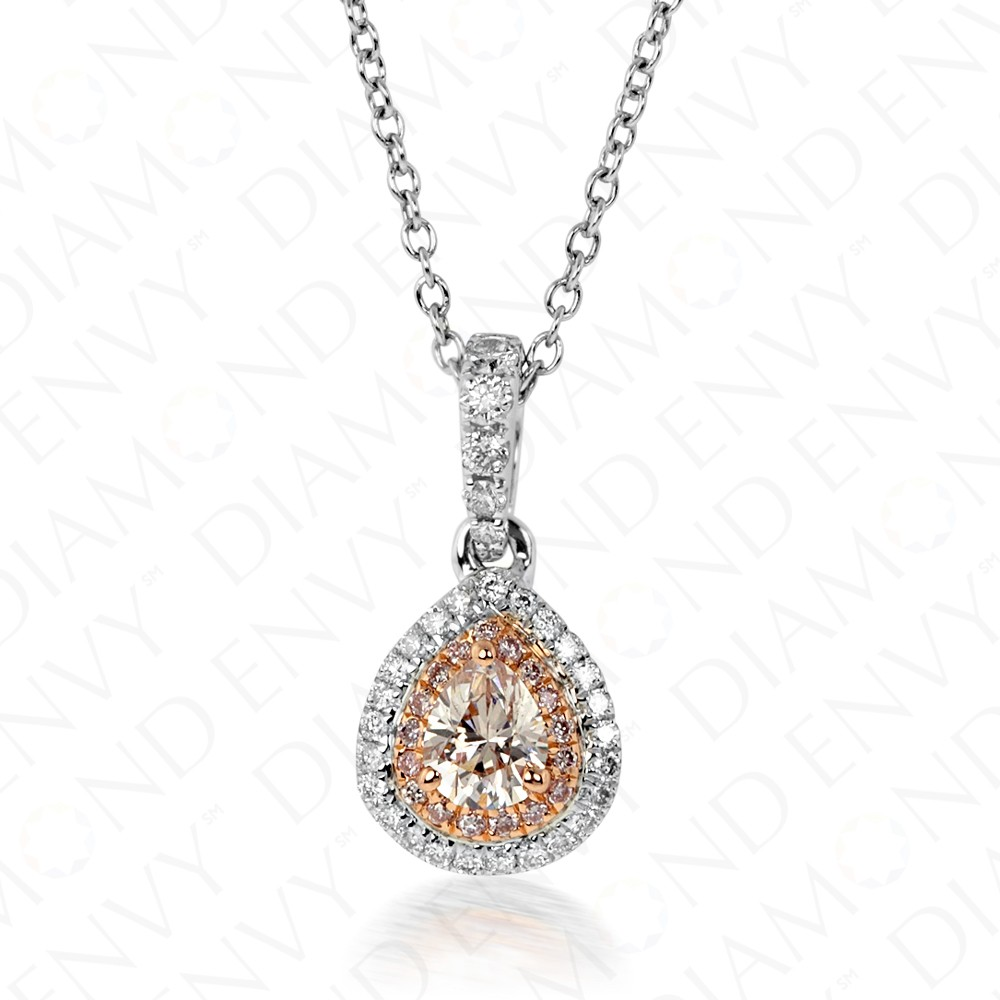 0.39 Carat Fancy Light Brownish Pink Diamond Pendant in 18K Two-Tone Gold