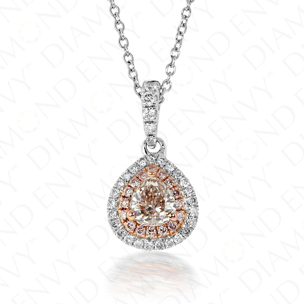 0.62 Carat Fancy Light Brownish Pink Diamond Pendant in 18K Two-Tone Gold