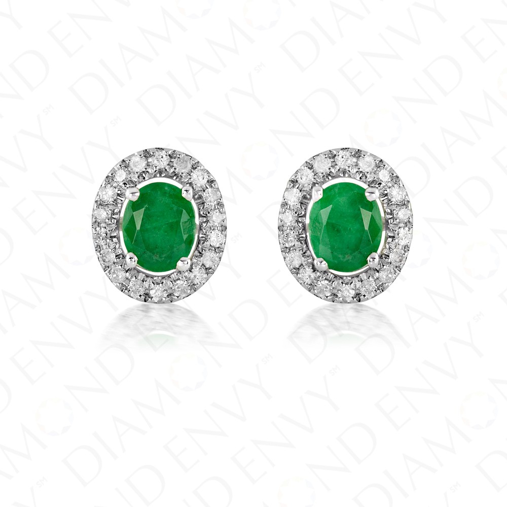 0.83 Carat Diamond and Natural Emerald Earrings in 14K White Gold