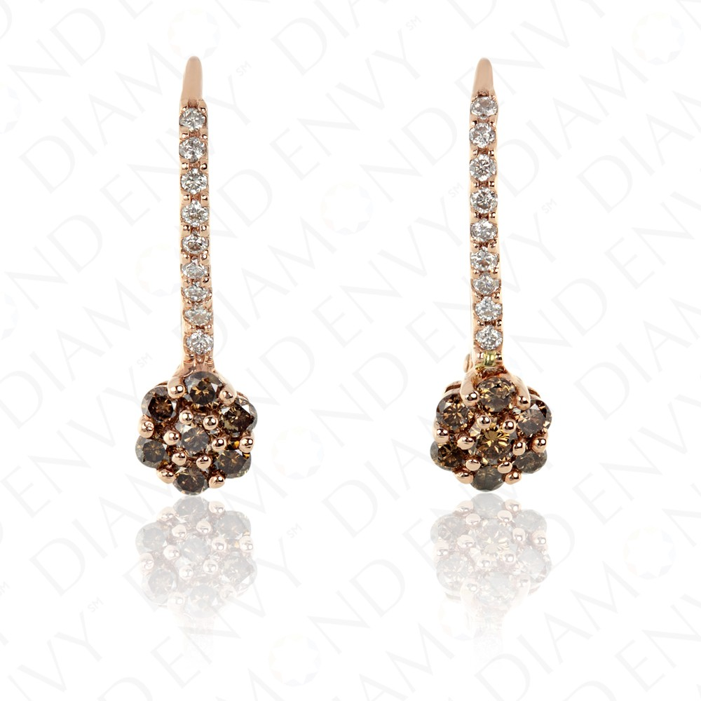 0.55 Carat Brown Diamond Earrings in 14K Rose Gold
