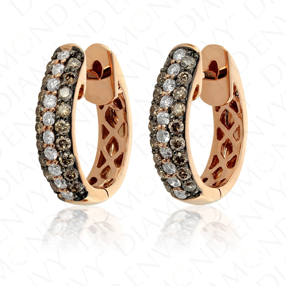 0.88 Carat Brown Diamond Earrings in 14K Rose Gold