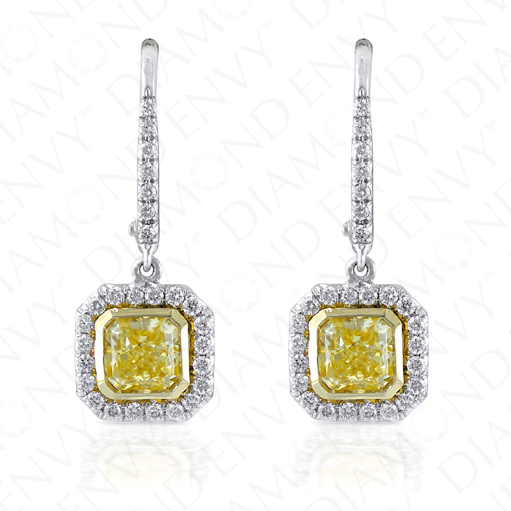 1.90 Carat Fancy Yellow Diamond Earrings in 18K Two-Tone Gold
